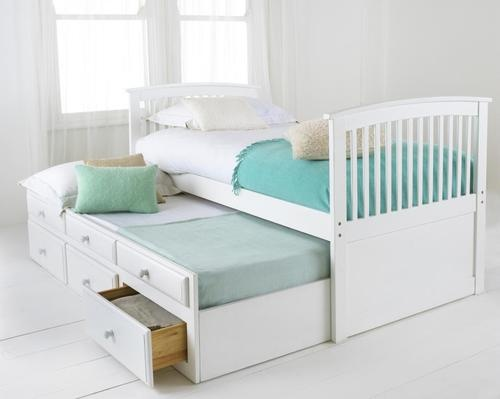 Bunk Bed Frame with Pull Out Guest Bed   Capitano White   Underbed