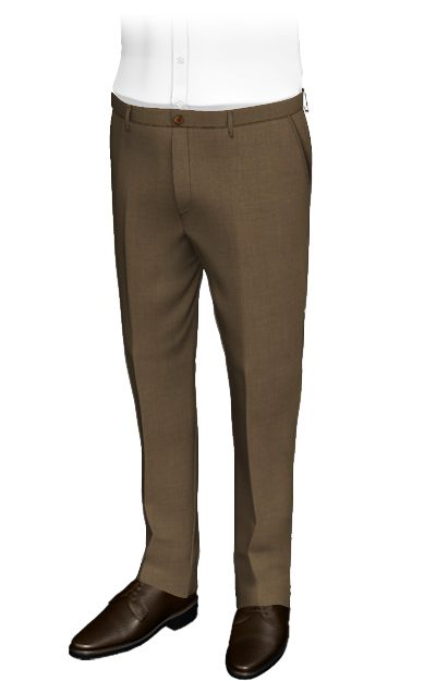 Meran Brown slim fit pants, wool and polyester.The fabric of these custom pants reminds us of the of field soil. Their honey-colored buttons, combine perfectly with the darker fabric of the pants, which display roughness and strength. Perfect for classic and formal occasions.