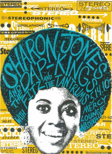 Concert poster for Sharon Jones and the Dap Kings. Design by Print Mafia. (via @Andrea Pippins)