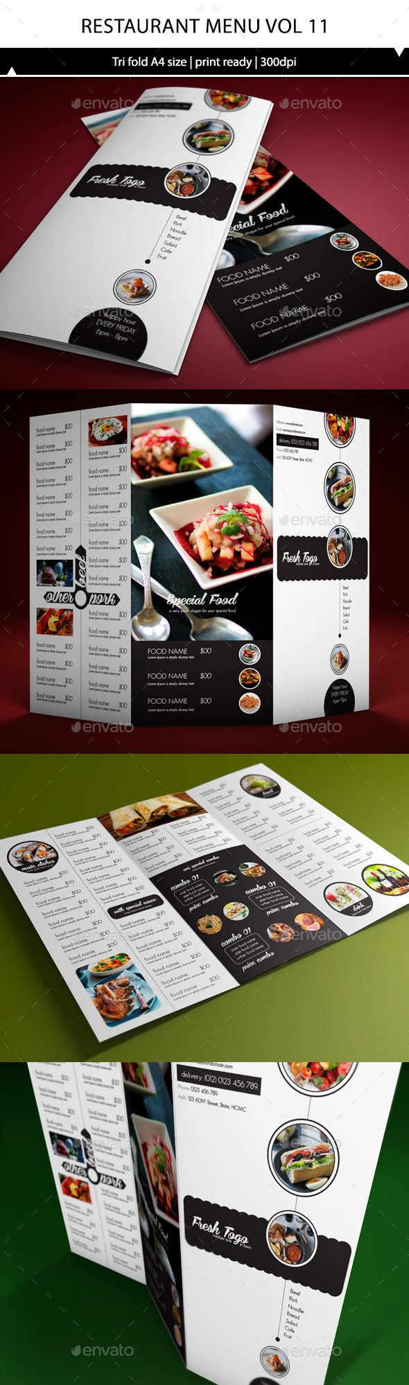 Restaurant Menu A4 Trifold Template #design Download: http://graphicriver.net/item/restaurant-menu-a4-trifold-vol11/10357063?ref=ksioks