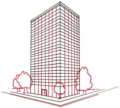 How To Draw Skyscrapers In 4 Steps Drawings Easy Drawings
