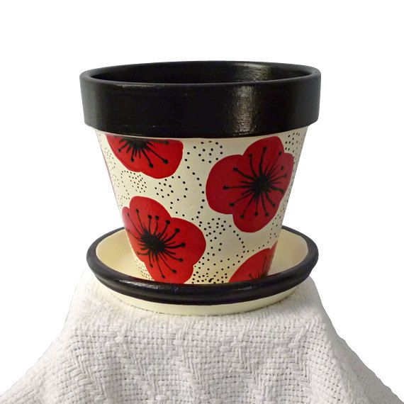 Painted Flower Pot, Poppy, Flower Pots, Planter, Clay Pot, Garden Pot, Black, Red, Whimsical. $16.00, via Etsy.
