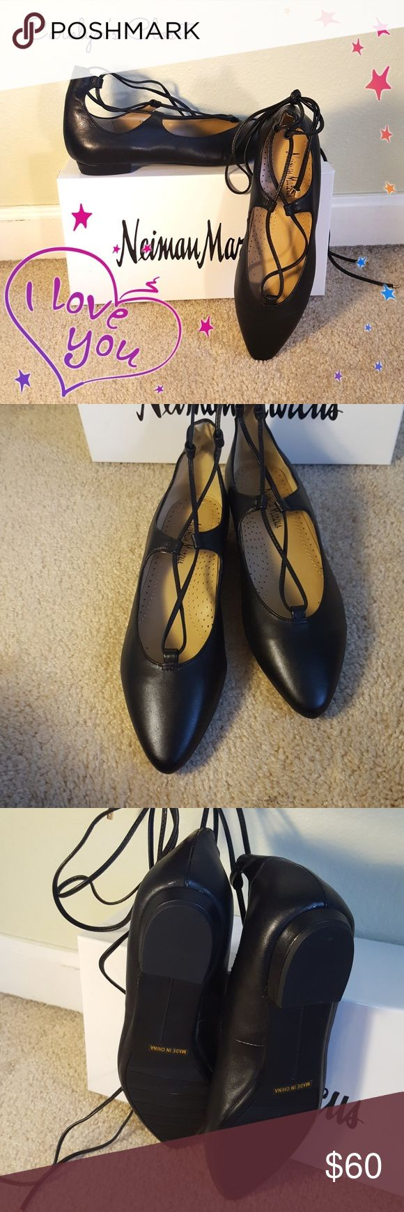NIB! Black Leather Ballet Flats SO COMFORTABLE and Feminine! Size runs true!!! Neiman Marcus Shoes Flats & Loafers
