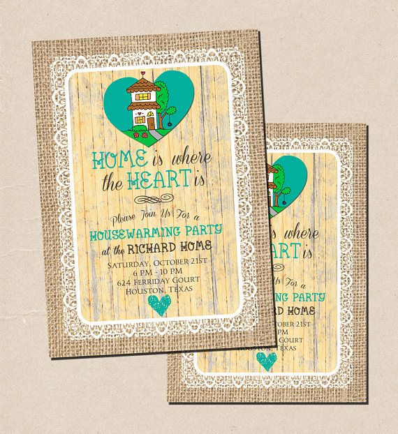 """Super cute housewarming party invitation featuring burlap, lace and a light yellow wood background with teal hearts and text that reads """"Home is Where the Heart Is."""" Housewarming Party Invitation, Housewarming Invitation, Open House Invitation, Open House Party Invitation, Digital Printable Invitation."""