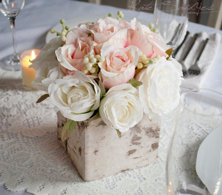 Wedding Centerpiece - Rustic Blush and Ivory Rose Wedding Centerpiece
