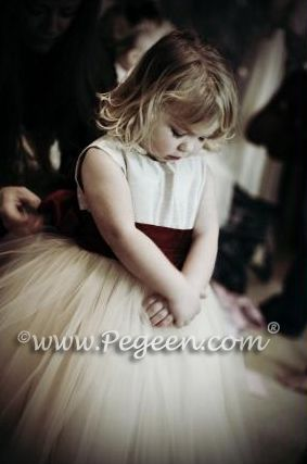 Flower girl dresses with layers and layers of tulle! In over 200 colors of silk from infants through plus sizes.