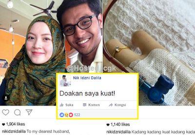 Sayu : Ayat doakan saya kuat undang pilu..pergi mu di ulangtahun perkahwinan mu ..Allah lebih sayang Nik (10Gambar)   KUALA LUMPUR : Nik sangat kuat sepanjang hidup nya selalu meminta sokongan dari insan tersayang dan juga keluarga serta rakan-rakan mendoakan diri nya kuat menghadapi kesakitan akibat kanser pada diri nya.  Kisah keutuhan cinta guru muda Ahmad Kamal Effendi Kamarudin 26 yang sanggup mengahwini pasangannya pesakit kanser tahap empat Nik Idzni Dalila Nik Mahmud 25 berakhir hari…