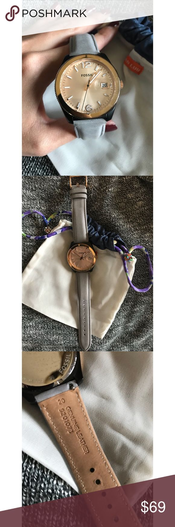 Women's Rose gold fossil watch. Only worn 2x. Rose gold fossil watch. So pretty! I don't wear it much since my apple iwatch. You can change out bands, a black one or tan one would also look great with this- really versatile piece and like new! Fossil Accessories Watches