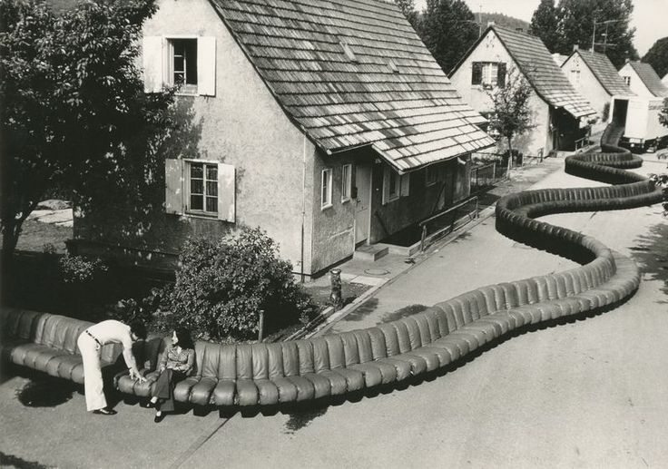 Non Stop Sofa by Ralph Crane Let your imagination wander with this bird's-eye view portrait taken by German born LIFE Magazine photographer Ralph Crane, in Allegmagne, Germany, in 1967. The image shows two people enjoying the popular Non Stop Sofa; a...