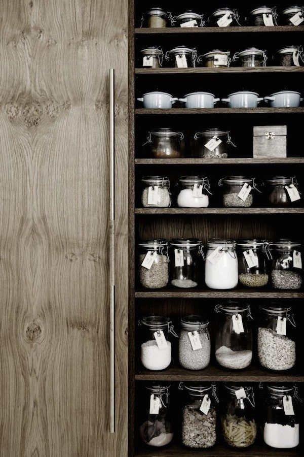 Storage jars in the kitchen of  Danish carpenter and designer Kim Dolva of Københavns Møbelsnedkeri.