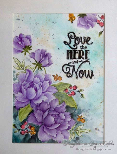 Framed paiting with Altenew, MFT stamps, Prima marketing watercolor pencils, SSS inks at Thoughts....in lines and colors