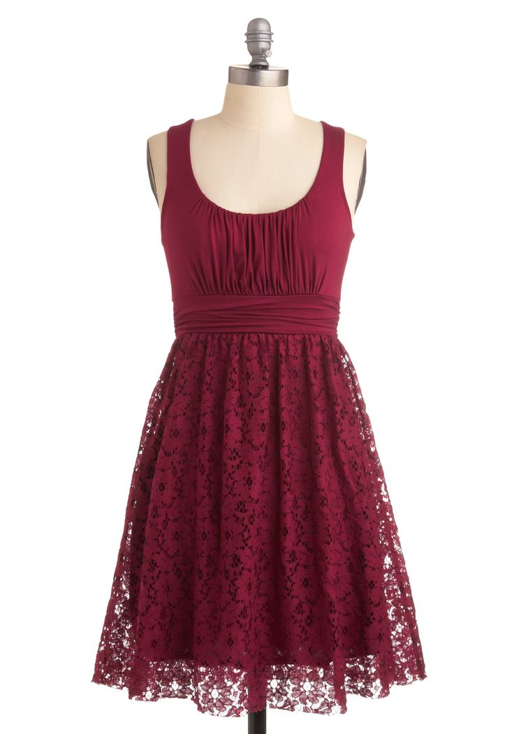 Raspberry Iced Tea Dress - Red, Lace, A-line, Tank top (2 thick straps), Party, Short, Solid, Empire, Daytime Party, Best Seller, Scoop, Summer, Top Rated, Wedding, Bridesmaid