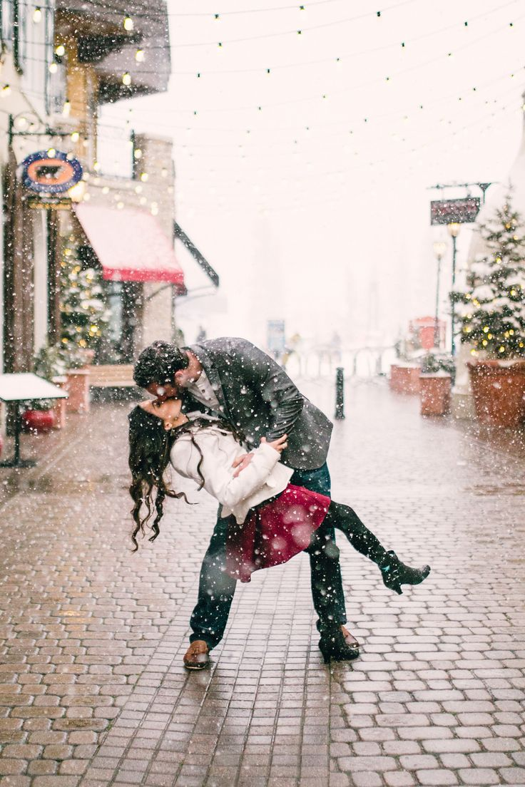 Romantic Winter Engagement Photo ♡ | dancing in the snow | outdoor session | winter photo shoot | engaged | snowy | couple | save the date | Vail  | Colorado | photography #winterengagement #savethedate by Kelly Lemon Photography