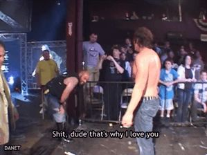 Moxley and Nick Gage @ CZW...This is what I feel like showing everybody who says wrestling is fake....[Credit Jen J.]