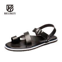 Sandalias de hombre 2016 nueva moda británica de alta calidad para hombre cuero genuino de la playa del ocio No antideslizante suela sandalias para hombre(China (Mainland))