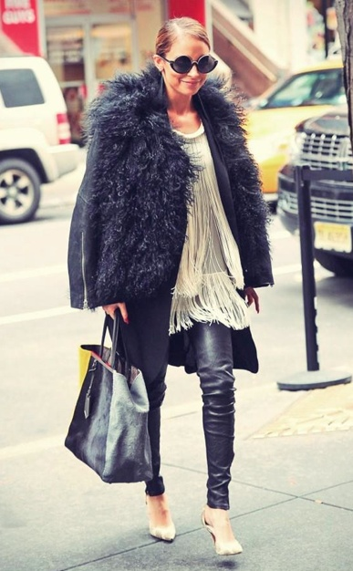 Too old for the leather trousers but could work brilliantly with regular black skinny trousersFur Coats, Inspiration, Nicole Richie, Fashion Icons, Helmut Lang, Street Style, Leather Jackets, Fringes