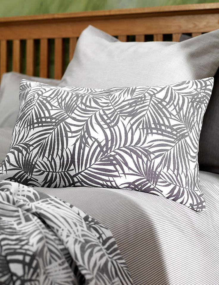 Tropical Graphite Grey Cushion Cover