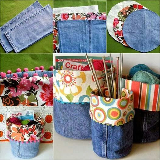 Turn old jeans into storage bins.  Please Follow