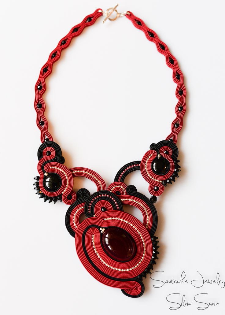 Black and Red Handmade Soutache necklace with brazilian agate and onyx coins