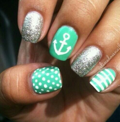 sparkle and stripe nail designs | ... Green, White, & Silver Sparkle nails with an Anchor, ... | Nails