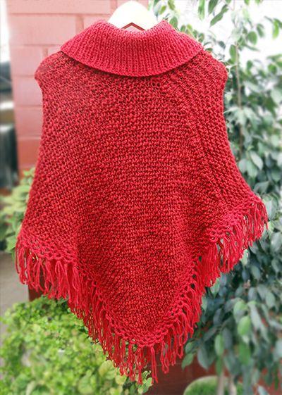 Poncho rojo tejido a palillos (Poncho dos agujas) / #knit #poncho #knitted #poncho #red  #needles #wear #redponcho by Suhyza