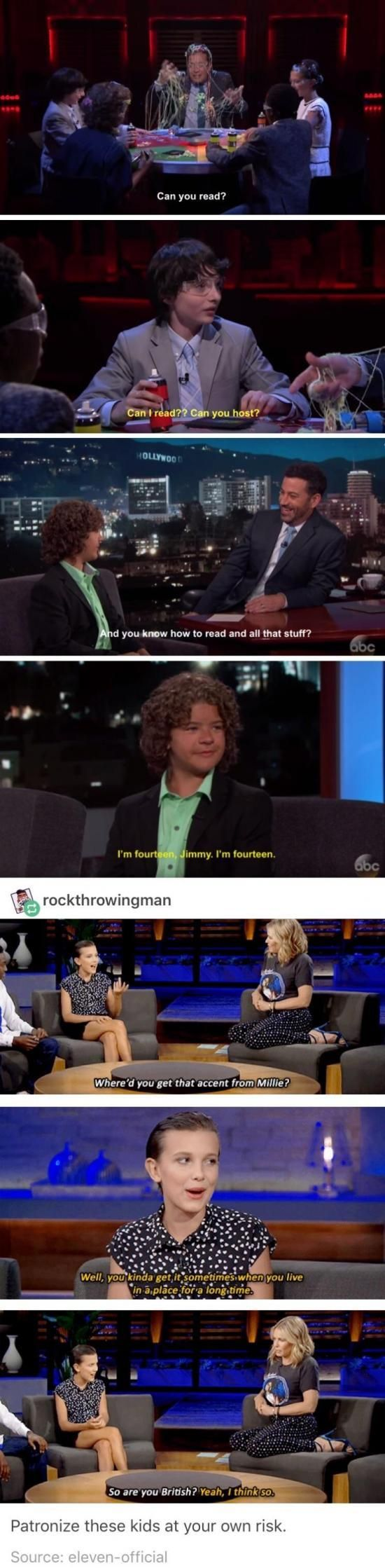 Stranger Things kids vs. talk show hosts