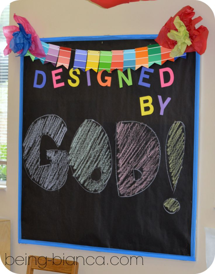 diy, chalkboard, designed by God, paint chip craft, color banner, workshop of wonders, VBS, Sunday School decor