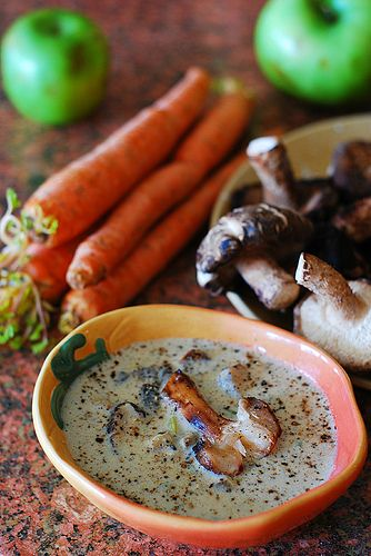 Creamy Mushroom Soup/this soup was amazing!  I used coconut milk instead of half and half to keep it dairy free.  I used a 50/50 mix of baby bella and shitake mushrooms, added garlic in when sauteing onions and carrots and used fresh thyme.  Also instead of using water I used my homemade chicken bone broth.  YUM!!