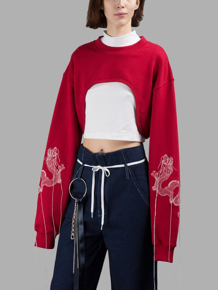 R.SHEMISTE WOMEN'S RED CUT OUT SWEATER.