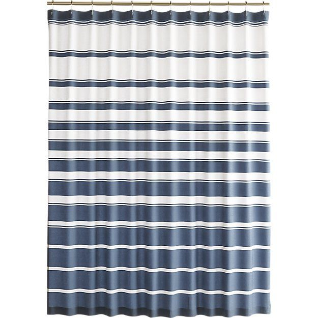 Hampton Blue-White Striped Shower Curtain | Crate and Barrel