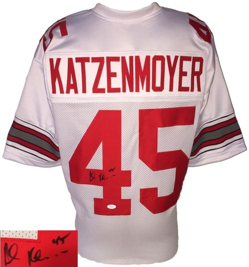 Featured is a Andy Katzenmoyer autographed custom football jersey. This jersey is certified by JSA and comes with their hologram and certificate of authenticity. This is not an NFL jersey. It has no l