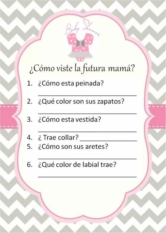 Juego baby shower: