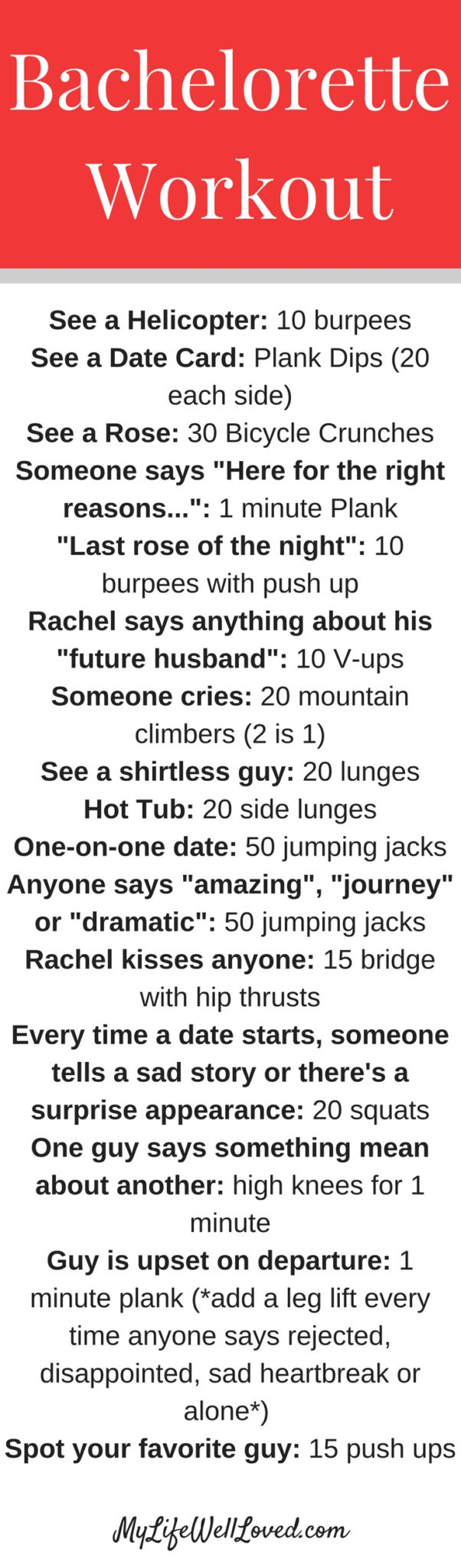 Bachelorette Workout Game // The Bachelor Exercise Game // The Bachelorette Party Ideas