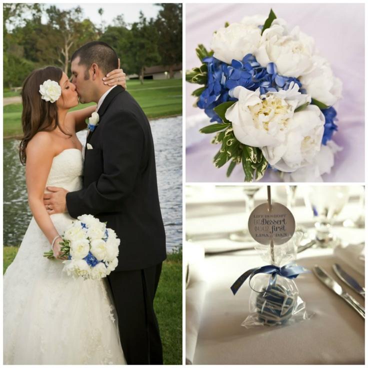 Real Wedding: Brookside Golf Club Pasadena CA #blue #white