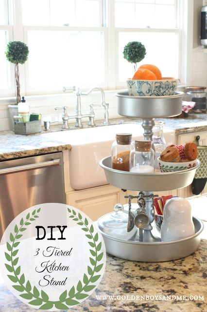 DIY 3 tiered kitchen stand tutorial from www.goldenboysandme.com