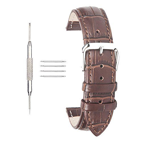 #watchbands 20mm Leather Watch Strap ACUNION™ Cow Leather Watch Band Wrist Replacement Pin Buckle Brown Check https://www.carrywatches.com