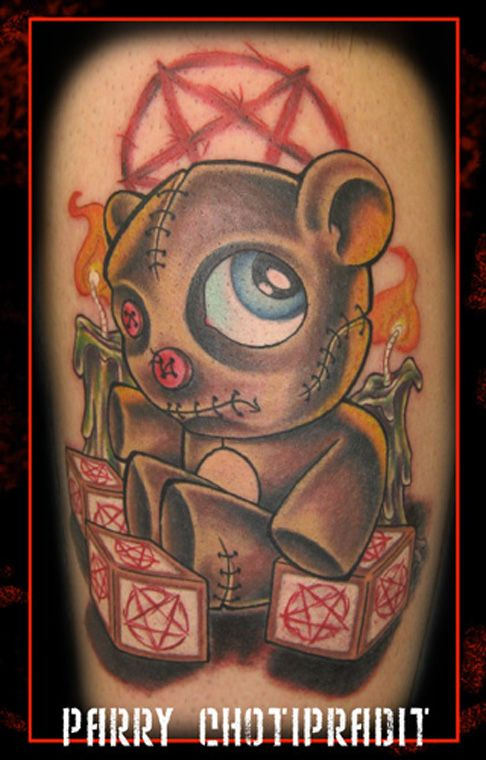 cartoon teddy bear tattoos more tattoo images under bear tattoos evil cartoon tattoo. Black Bedroom Furniture Sets. Home Design Ideas