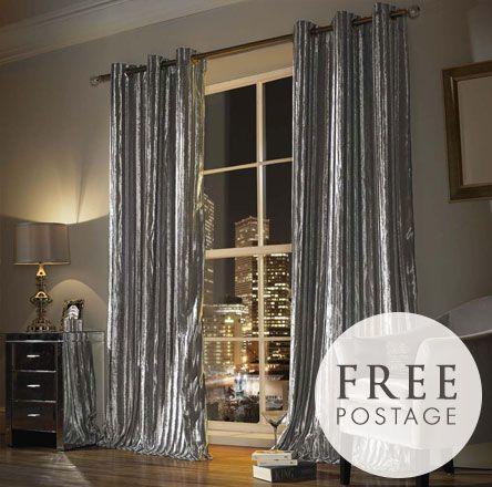 Designer, Kylie Minogue Iliana Silver Curtains from the Kylie Minogue at Home range are one of our top sellers.  Made from silver crushed velvet and available in different sizes, the curtains are great in bedroom and lounge alike!!
