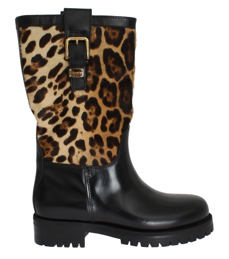 On Sale € | #DolceGabbana #Boots Black Leather Leopard Print Hair Boots |  #Black DOLCE & GABBANA Gorgeous brand new with tags, 100% Authentic Dolce  ...