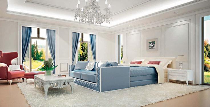 Спальня с белым ковром