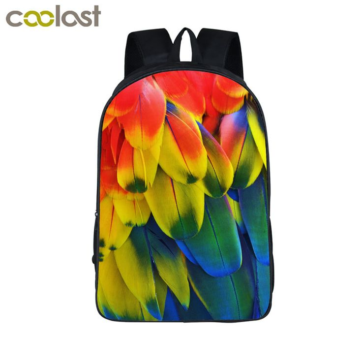Coolost New Brand Design Colorful Feather Backpack For Teenage Girls Boy Children School Bags Backpack Women Laptop Bags Bookbag #Affiliate