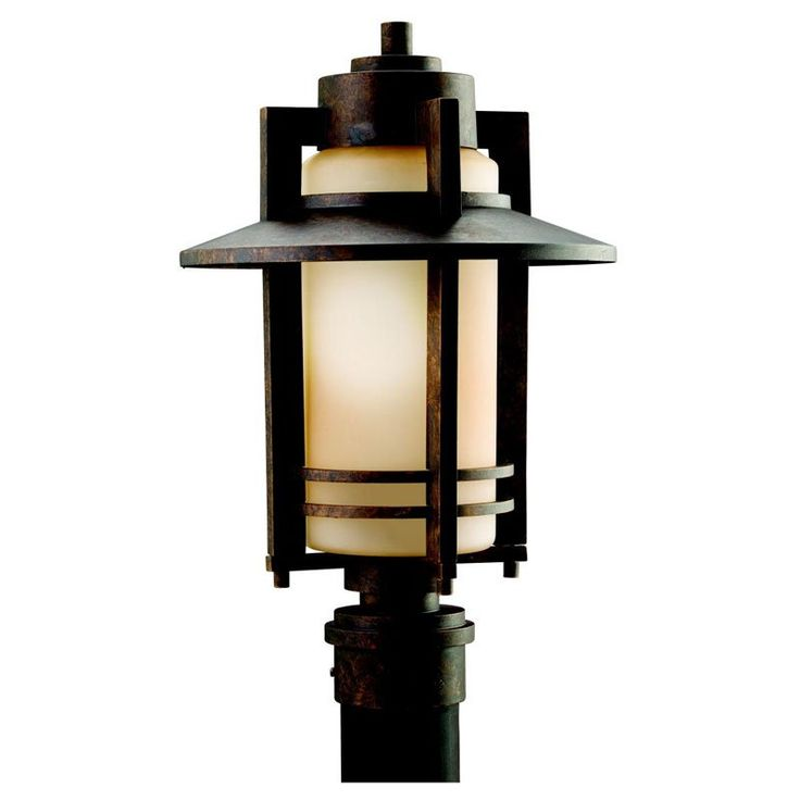 Outdoor post light in aged bronze with umber glass kichler lighting pendant ceiling landscape light fixtures