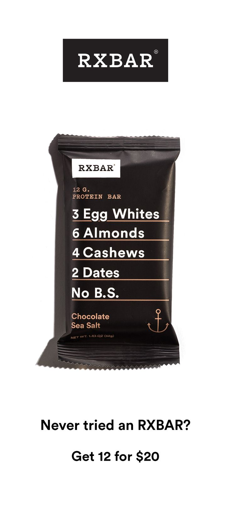 For a limited time get 12 bars for $20 + 2 free Mint Chocolate bars + free shipping. RXBARs are whole food protein bars made with real ingredients. Just real food that tastes good and is good for you. Each delicious bar packs 12g of protein and 5g of fiber in under 210 calories.