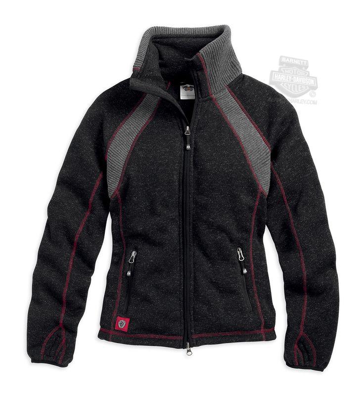 Harley-Davidson® Womens B&S Ski Collar Two Way Zip Fleece Black Long Sleeve Sweater