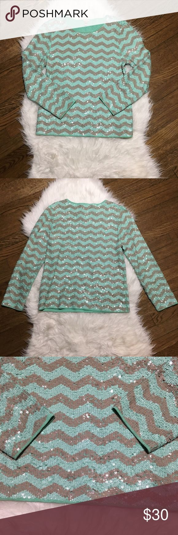 """J. Crew Chevron zigzag Sequin Mint Shirt M Gently used. Please see pictures for slight make up staining on collar and signs of wear from where arms rubbed up against sequins on side. Armpit to armpit is 18.5"""". Length is 22.5"""". J. Crew Tops Tees - Long Sleeve"""