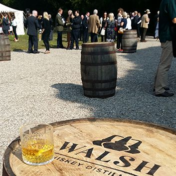 Custom stencils used for spray painting logo onto whiskey barrels for Walsh Whiskey Distillery www.akgraphics.ie