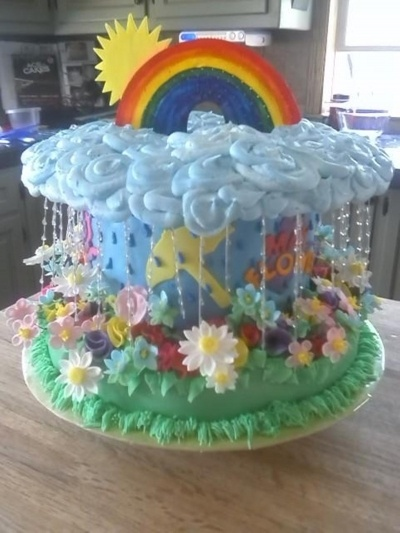 April Showers Baby Shower Cake