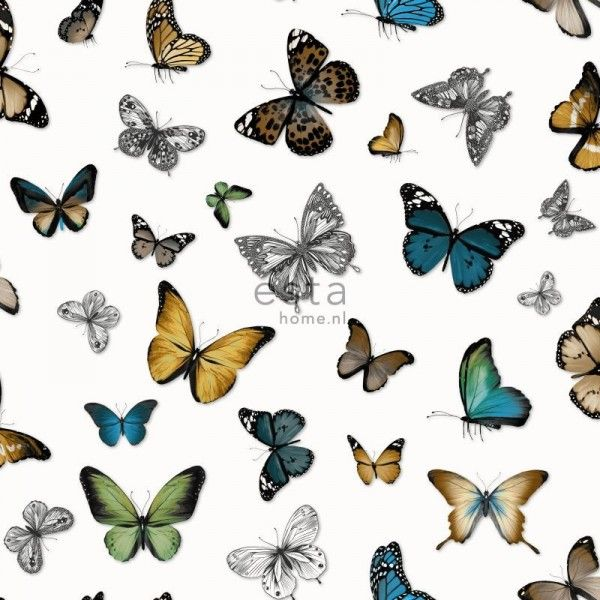 138509 HD non-woven wall covering butterflies ocher, green and brown