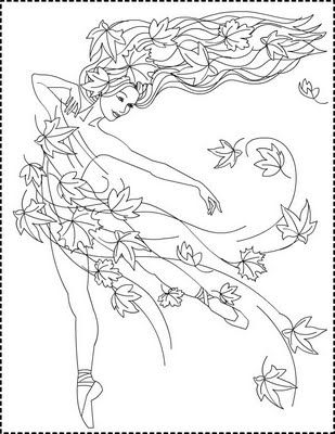 Autumn Coloring Pages | Nicole's Free Coloring Pages: Autumn Princess * Zana Toamnei