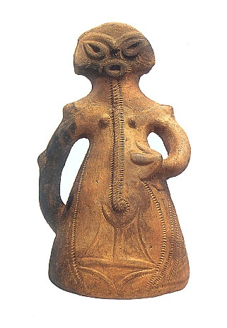 "Japanese Wonder ceramic figurine ""DOGU"".   B.C.3000 - 2000.   This figurine was unearthed on Imojiya Minami-alups Yamanashi Japan."